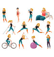 healthy lifestyle icon set vector image vector image