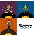 healthy lifestyle set people athletic sport with vector image