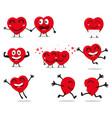 heart valentine cartoon character vector image vector image