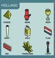 holland color outline isometric icons vector image vector image