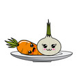 isolated kawaii vegetables design vector image vector image
