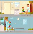 Kid visits doctor cartoon banners vector image
