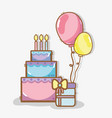 line cake with balloons and gift birthday vector image vector image