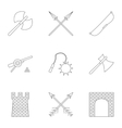 Medieval knight icons set outline style vector image vector image