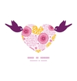 pink field flowers birds holding heart silhouette vector image