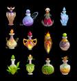 potion bottles icons magic elixir flasks vector image