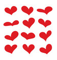 red heart collection icon set love symbol vector image vector image