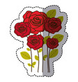red many roses with oval petals icon vector image vector image