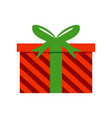 red striped gift box vector image vector image