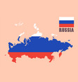 russia map with flag background vector image vector image