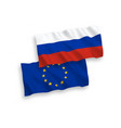 russian and european union flags vector image vector image