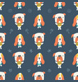 seamless pattern cute puppies and dogs on blue vector image vector image