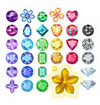 set colored gems and golden metal pattern vector image