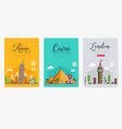 set different cities for travel destinations vector image vector image