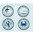 Set of emblems seafood on grunge background