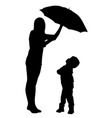 sister cover brother from rain by umbrella vector image