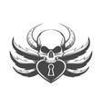 skull and padlock tattoo vector image vector image