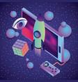 smartphone game control rocket cube eye 3d virtual vector image