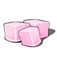 three pink sweet edible cube isolated on a white vector image vector image