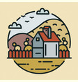 trendy logotype with farmhouse or ranch house and vector image vector image