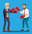 two businessmen in suits fight in boxing gloves vector image