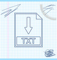 txt file document icon download txt button line vector image
