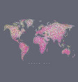 world map tangle lines magenta vector image vector image
