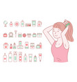 young girl does a hairstyle a set makeup vector image vector image