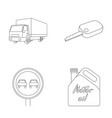 truck with awning ignition key prohibitory sign vector image