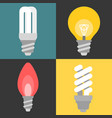 set of light bulb and fluorescent vector image