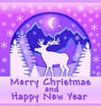 a bright christmas card with a deer in forest vector image vector image