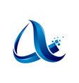 a letter initial 3d shiny pixel tech internet logo vector image