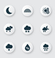 air icons set with storm temperature night and vector image