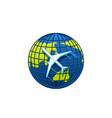 airplane icon on world globe vector image