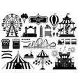 amusement park silhouette carnival parks carousel vector image
