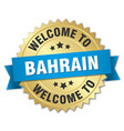 bahrain 3d gold badge with blue ribbon vector image vector image