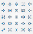 blockchain blue icons set block chain vector image vector image