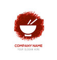 bowl and chopsticks icon - red watercolor circle vector image