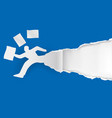 businessman running in a hurry with papers vector image vector image