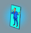 businessman speaker lecturer at a conference call vector image vector image
