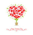 Card happy valentine tree of hearts vector image vector image