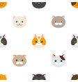 cat flat feline head icons seamless pattern vector image