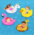 children floating on inflatable vector image vector image