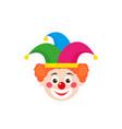 clown head in jester hat vector image