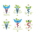 collection caduceus logotypes composed with vector image vector image