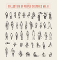 collection of people sketches hand drawn vector image vector image