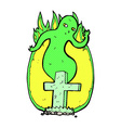 comic cartoon ghost rising from grave vector image vector image