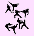 couple exercising karate silhouette 01 vector image vector image