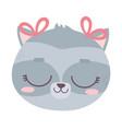 cute animal face female raccoon cartoon character vector image vector image