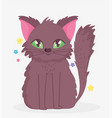 cute cat with green eyes sitting domestic cartoon vector image